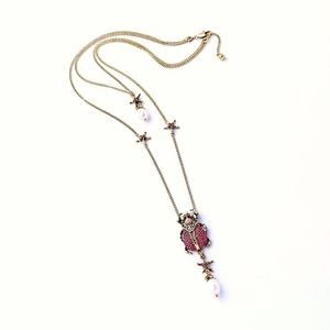 2/$25 Multi-Layered Crystal Beetle Scarab Necklace